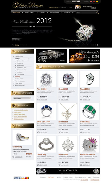 Jewerly store 2.3ver, osCommerce template