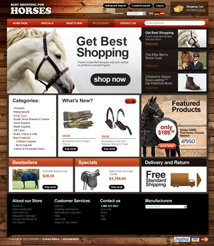 Name: All for Horses 2.3ver - Type: osCommerce template - Item number:300111175