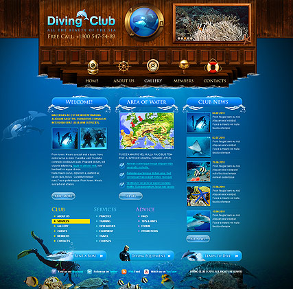 Diving Club, HTML template