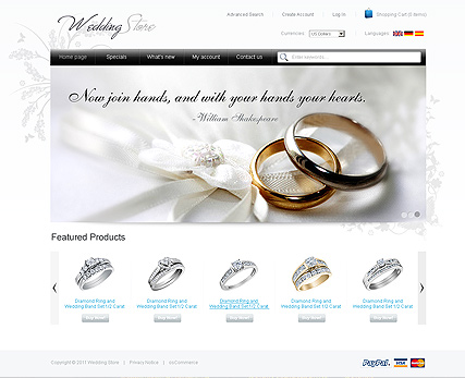 Name: Wedding Store 2.3ver - Type: osCommerce template - Item number:300111186
