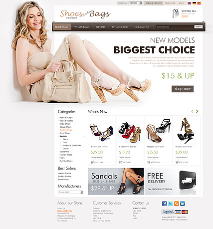Name: Shoes Store 2.3ver - Type: osCommerce template - Item number:300111206