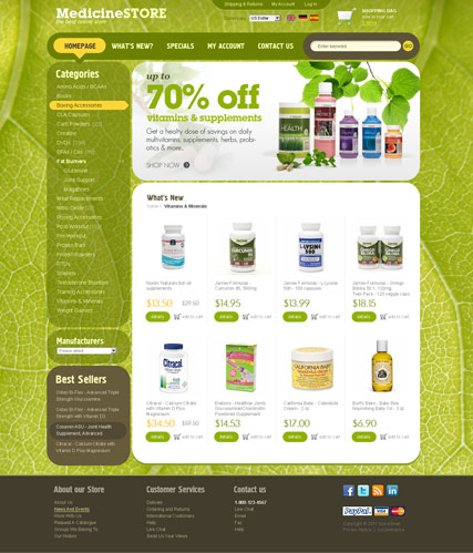 Name: Medicine Store 2.3 ver - Type: osCommerce template - Item number:300111220
