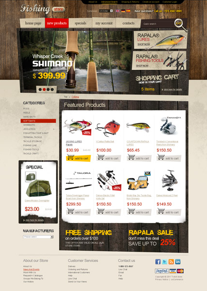 Fishing tackles 2.3ver, osCommerce template