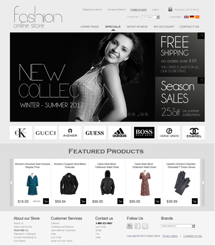 Name: Fashion v2.3 - Type: osCommerce template - Item number:300111259