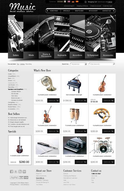 Name: Music instrument v2.3 - Type: osCommerce template - Item number:300111260