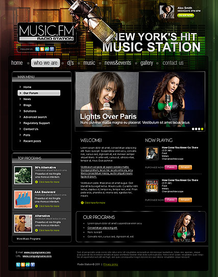 Radio station v2.5, Joomla template