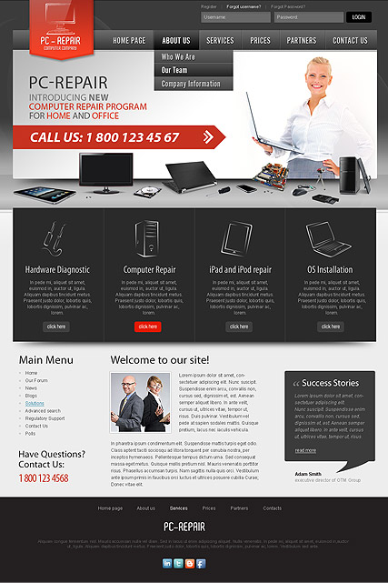 Computer Repair v2.5, Joomla template