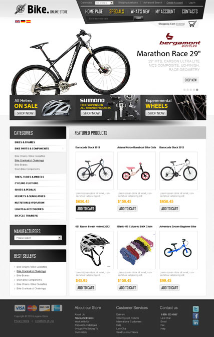 Bike Store v2.3, osCommerce template