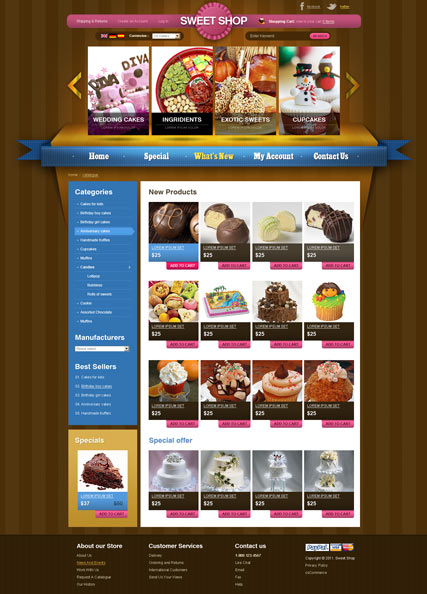 Name: Sweets v2.3 - Type: osCommerce template - Item number:300111286