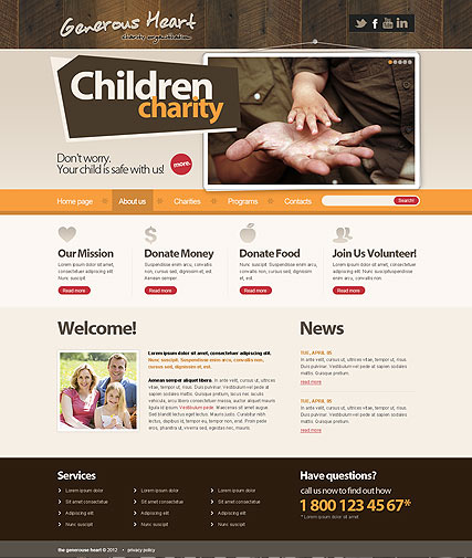 Charity v2.5, Joomla template