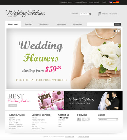 Wedding Store v2.3, osCommerce template