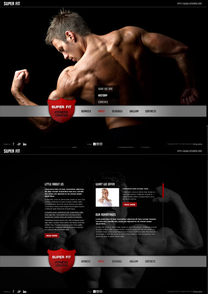 Fitness Club, HTML5 template