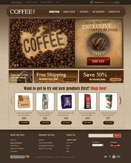 Name: Coffee v2.3 - Type: osCommerce template - Item number:300111297