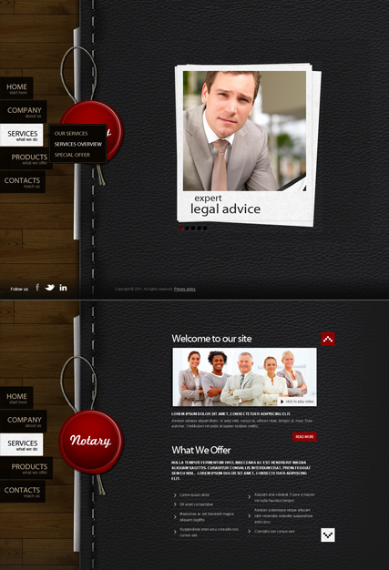 Notary Public, HTML5 template