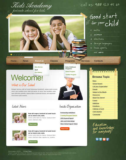 My School v2.5, Joomla template