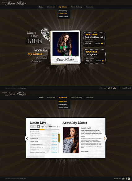 Singer Music, HTML5 template