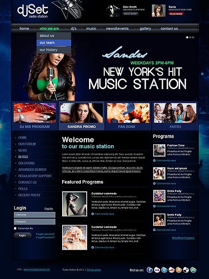 Radio Joomla Templates Radio Station v2.5 - Joomla template ID:300111309