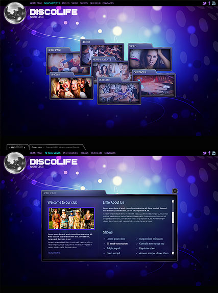 Disco Life, HTML5 template