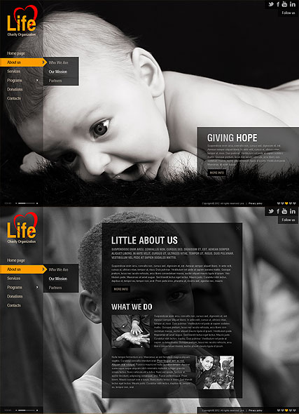 Charity, HTML5 template