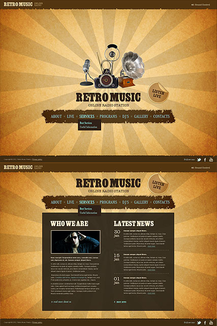 Retro Radio, HTML5 template