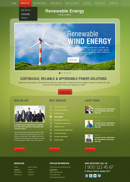 Energy co. v2.5, Joomla template