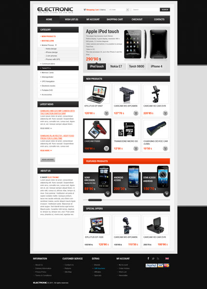 Electronic store, OpenCart template