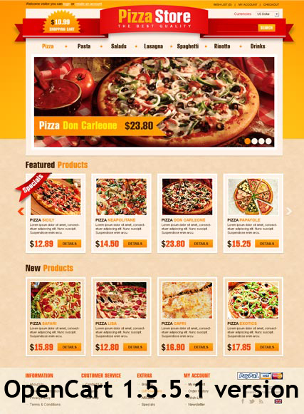 Pizza Store, OpenCart template