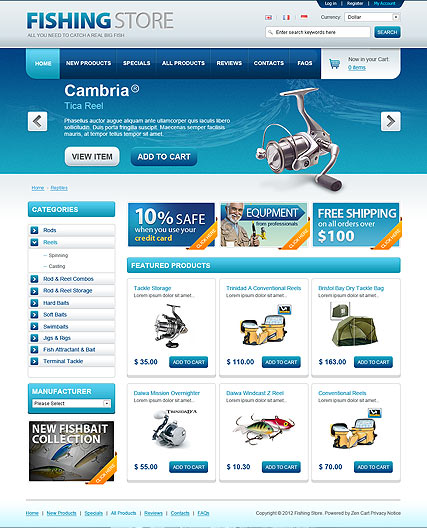 opencart bookstore template - fishing store opencart template id 300111359