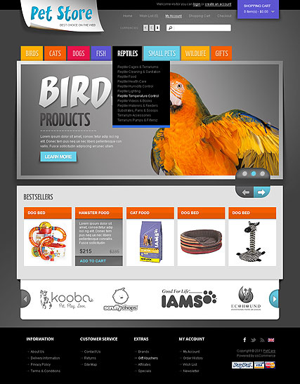 Pet Store, OpenCart template