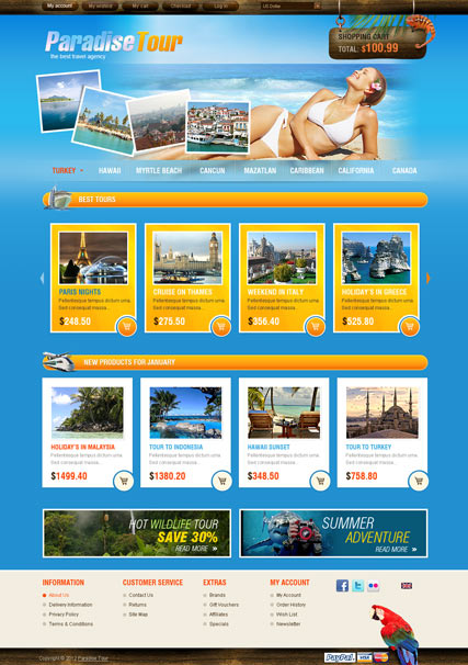 Travel Agency, OpenCart template