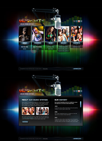Online Radio, HTML5 template