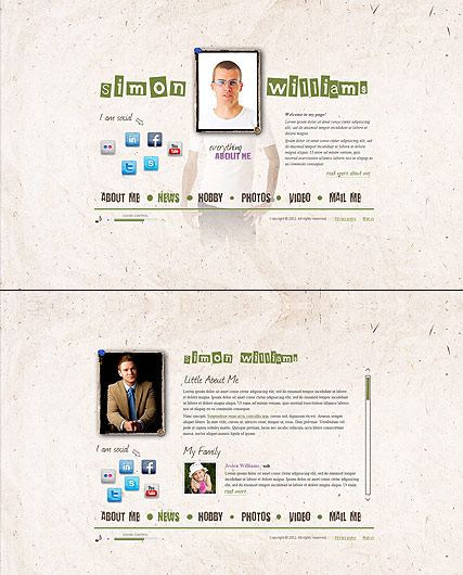 Personal Page, HTML5 template