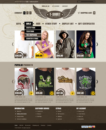 T-shirts, OpenCart template