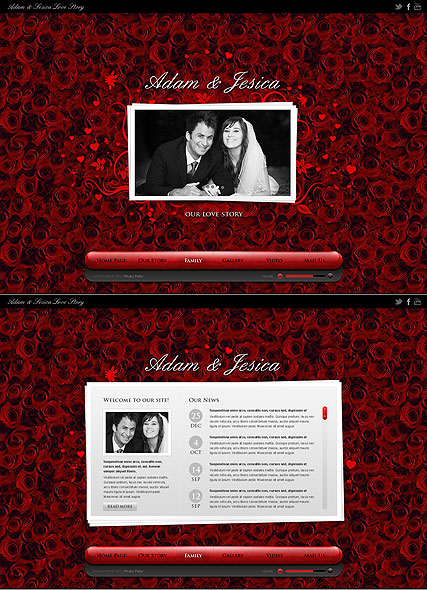 Love Story, HTML5 template