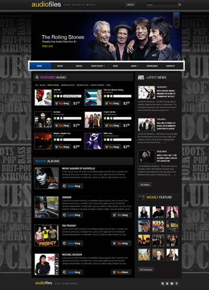 Stock Music v2.5, Joomla template