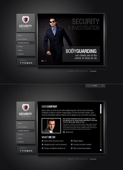 Security Service, HTML5 template