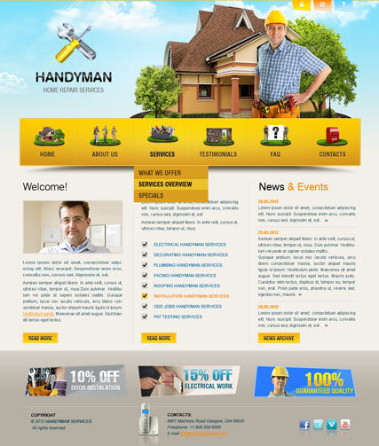 Home repair v2.5, Joomla template
