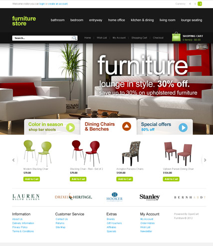 Furniture Store, OpenCart template