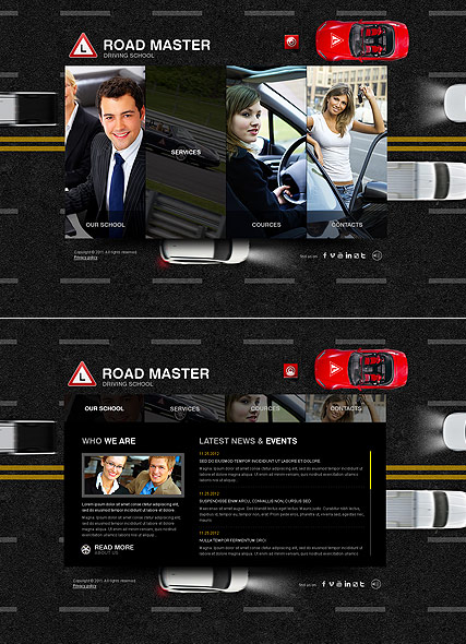 Driving School, HTML5 template