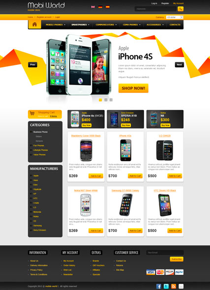 Mobi World v2.3, osCommerce template