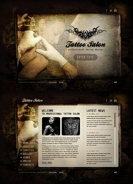 Tattoo Salon, HTML5 template