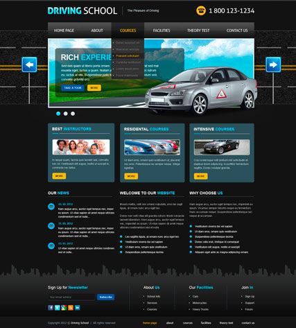 Driving School v2.5, Joomla template