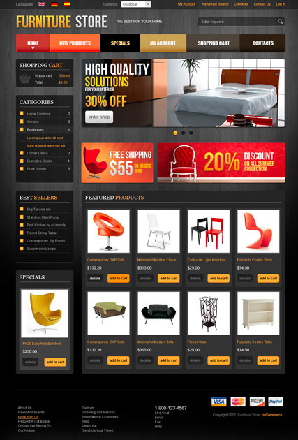 Furniture v2.3, osCommerce template