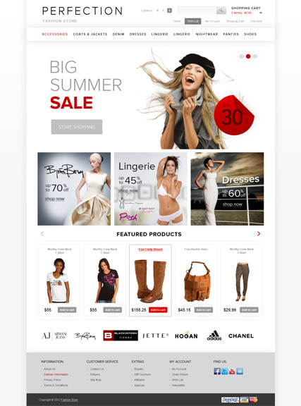 Clothes, OpenCart template