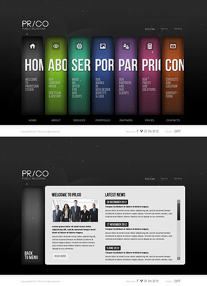 Public Relations, HTML5 template