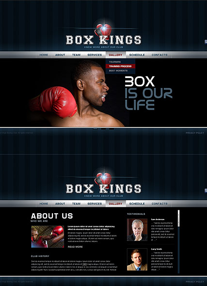 Boxing Club, HTML5 template
