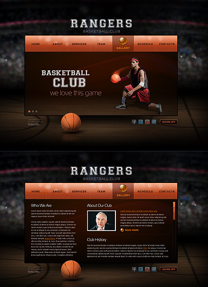 Basketball Club, HTML5 template