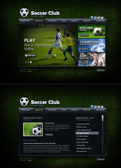 Soccer Club, HTML5 template