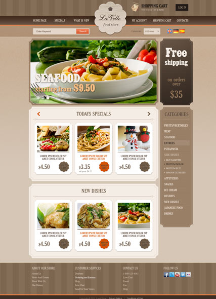 Name: Food Store v2.3 - Type: osCommerce template - Item number:300111504