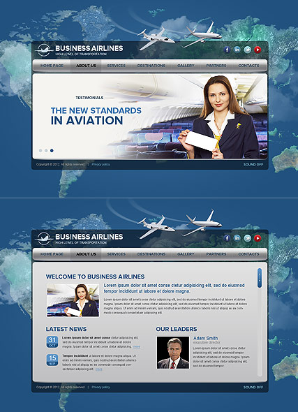 Business Airlines, HTML5 template